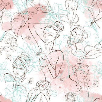 Line art. beauty body. seamless pattern with beautiful girls on a watercolor background . vector.