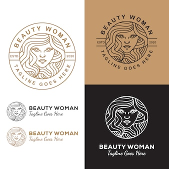 Line art beauty woman long hair logo  for salon or cosmetic product your business