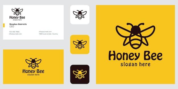 라인 아트 꿀벌 로고 디자인 영감과 명함