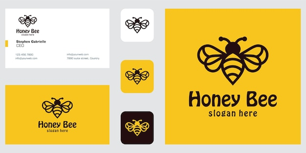 Line art bee logo design inspiration and business card
