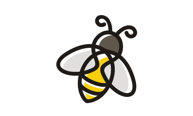 Line art bee дизайн логотипа
