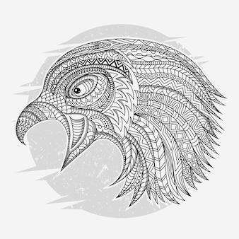Line art bird in ethnic vector
