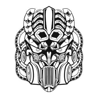 Линия искусства черно-белая механическая иллюстрация робота