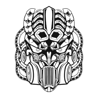 Line art black and white mecha illustration of robot