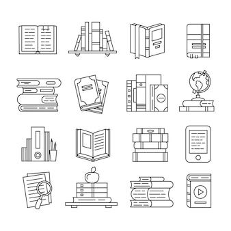 Line art book icon set