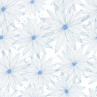 라인 아트 버드 데이지 원활한 패턴 흰색 배경에 고립. 초록 꽃 무늬 벽지입니다.