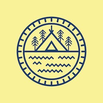 Line art camping ground logo