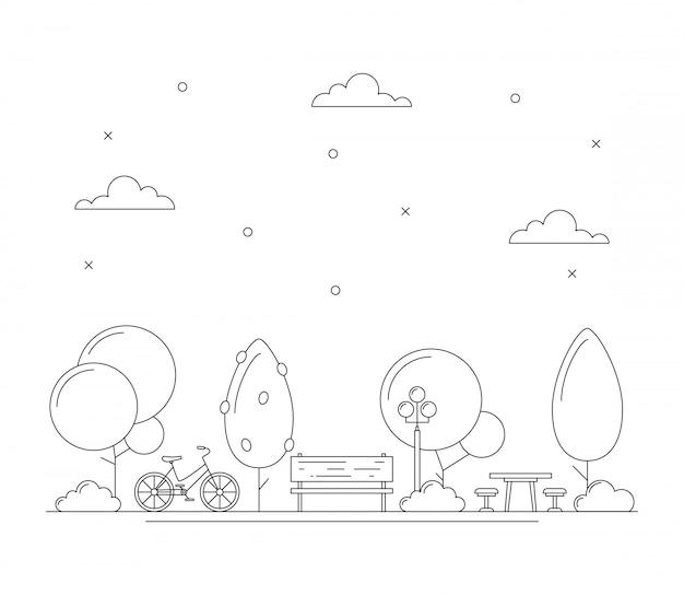 Line art city park illustration