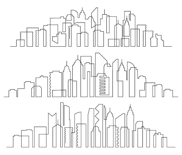 라인 아트 풍경. 도시 건물 가로 파노라마, 도시의 고층 빌딩 및 현대 도시 실루엣 세트.