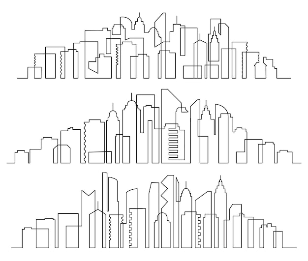 Line art cityscape. town buildings horizontal panorama, city skyscrapers and modern urban silhouette set.