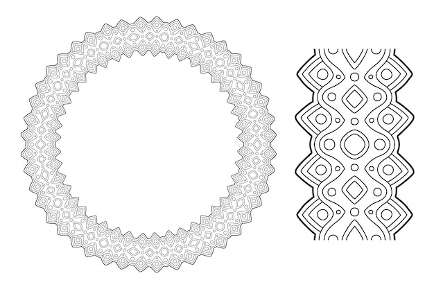 Line art for coloring book with abstract wreath