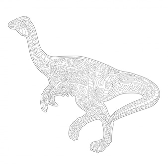 Line art for coloring book with running dinosaur