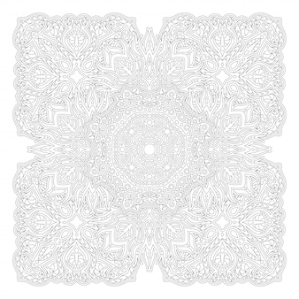 Line art for coloring book with square pattern