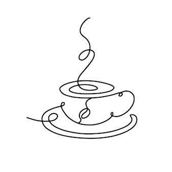 ホットドリンクのラインアートカップ、スチームとコーヒーの線形カップ。手描きのロゴ。白地に黒