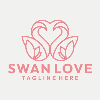 Line art dating swan and heart logo vector