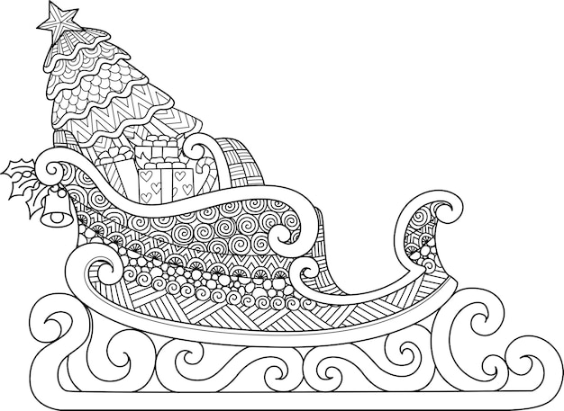 Line art design of christmas sleigh