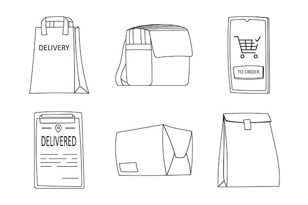 라인 아트 디자인 요소 배달 컬렉션입니다. 6개의 요소를 설정