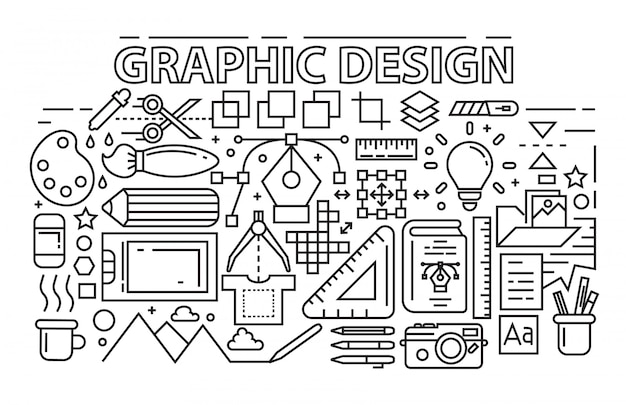 Line art design. graphic design theme with flat, black and bold outlines.