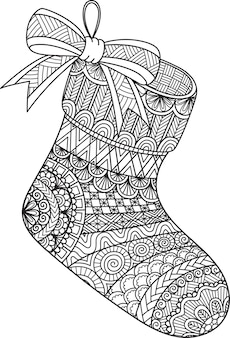 Line art design of hanging christmas sock for coloring book, coloring page or print on stuffs.