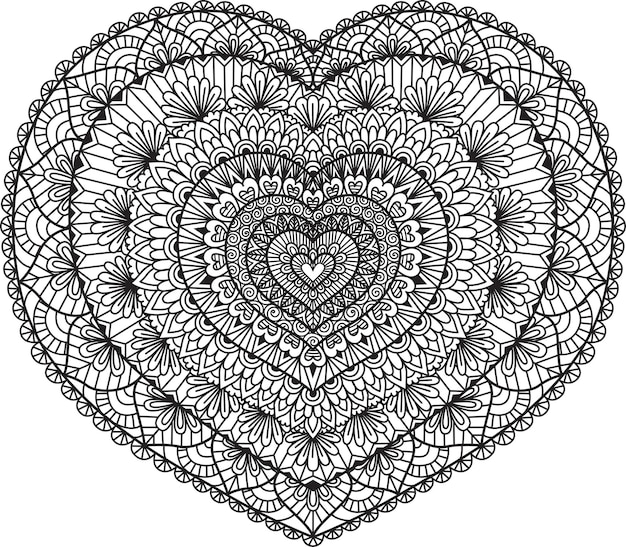 Line art design in heart shape for coloring book, coloring page or print on stuffs.  illustration.