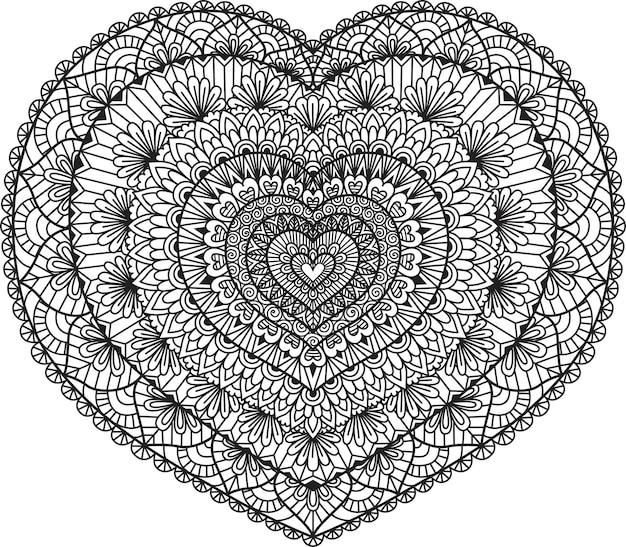 Линейный арт-дизайн в форме сердца для раскраски, раскраски или печати на вещах. иллюстрация.