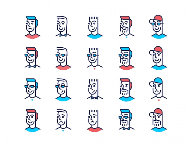 Line art design men icon set