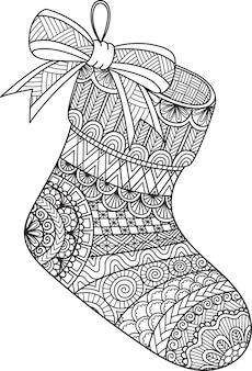 Штриховой дизайн подвесного рождественского носка для раскраски, раскраски или печати на вещах.