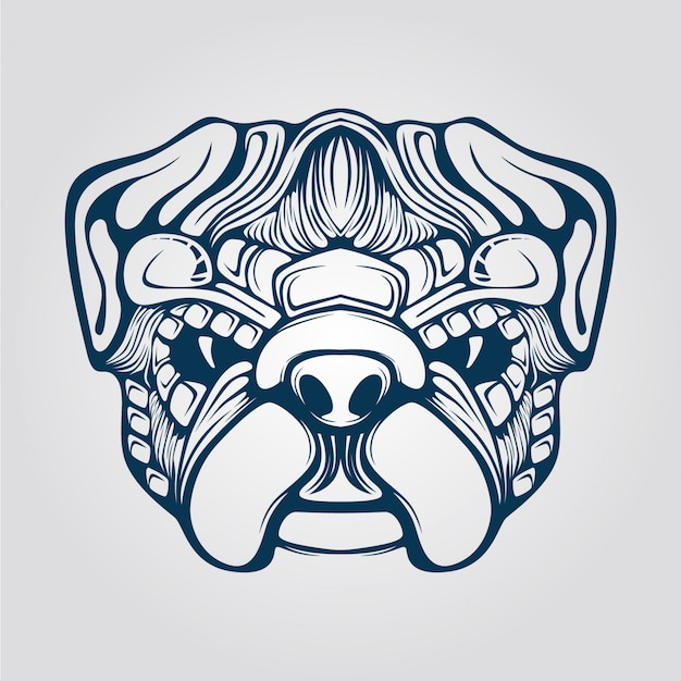 Line art of dog with decorative face