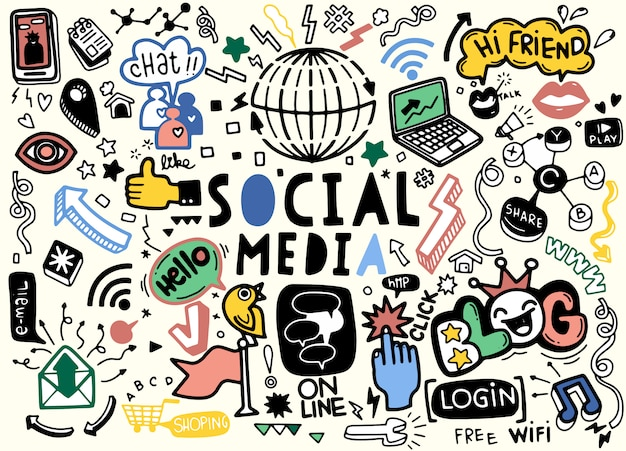 Line art doodle cartoon set of objects and symbols on the social media theme