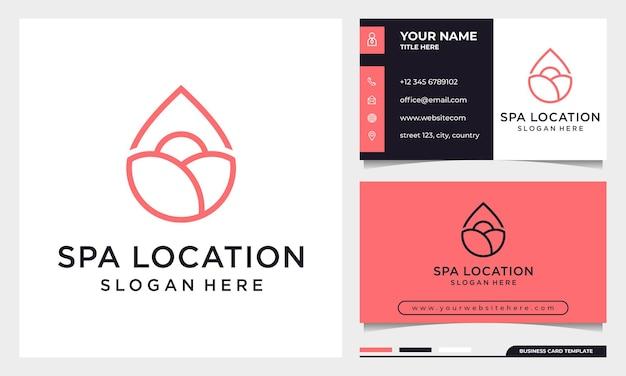 Line art elegant rose flower with location icon logo design template