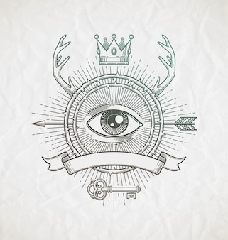 Line art emblem with heraldic elements and mystical symbols illustration