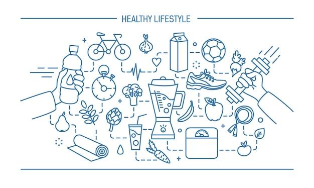 Линия искусства плоской иллюстрации здорового образа жизни, спорта и пищевых объектов.