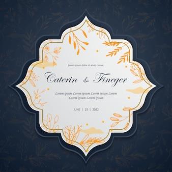 Line art floral autumn wedding card invitation templates