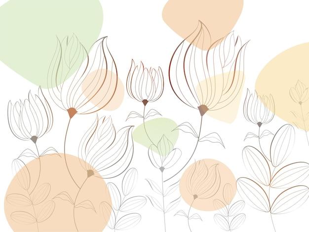 ラインアート花飾り背景。