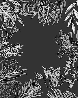結婚式のカードなどのためのラインアート花フレームの背景