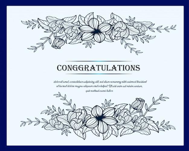 Line art floral greeting card, poster template design