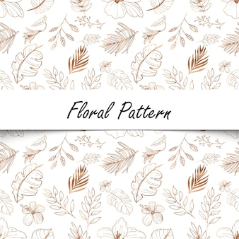 Line art floral seamless pattern background