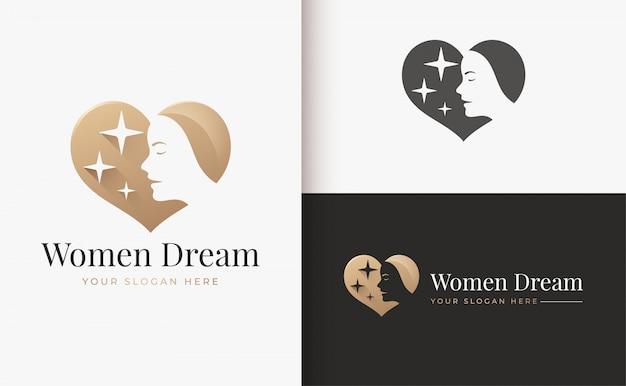ラインアート花の女性のロゴデザイン