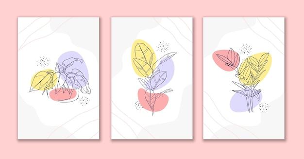 ラインアート花と葉のポスターデザイン