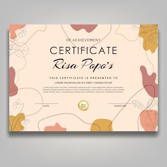 Line art flower certificate retro