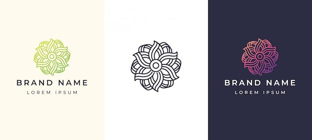 Line art flower elegant logo Premium Vector