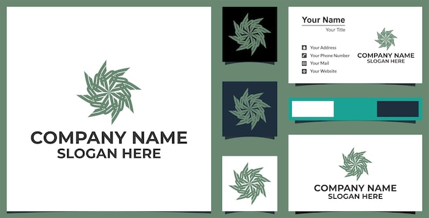 Line art flower  hexagon logo and business card design premium vector