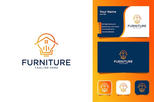 Line art furniture home with lamp logo design and business card