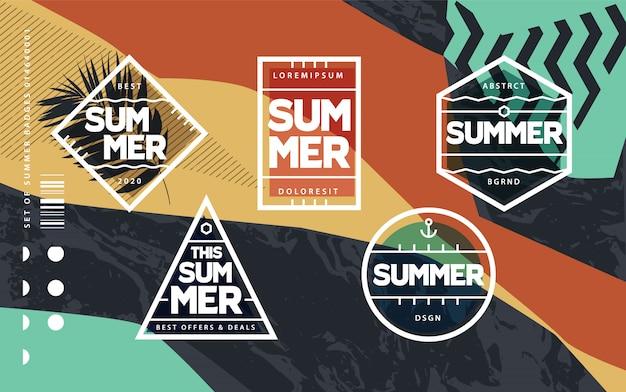 Набор геометрических летних эмблем линии искусства
