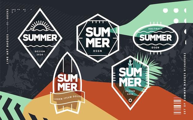 ラインアートの幾何学的な夏のエンブレムセット