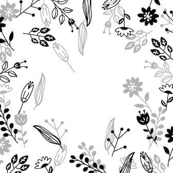 線画手描き花