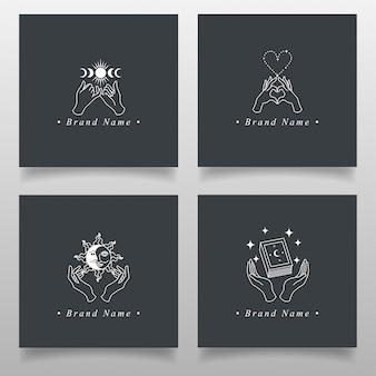 Line art hand magic logo  editable template occult collection