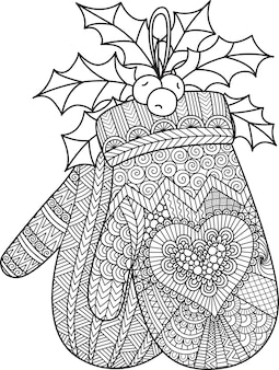 Line art of hanging christmas glove for coloring book, coloring page or print on product.  illustration