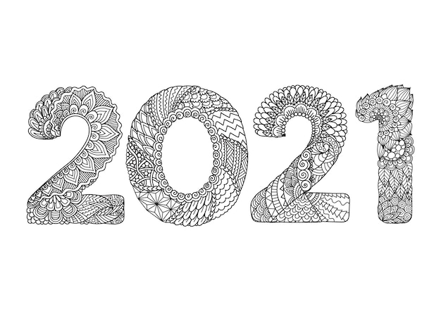 Line art happy new year illustration.