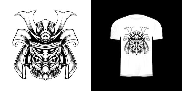 Tshirt 디자인을위한 라인 아트 헤드 사무라이 그림